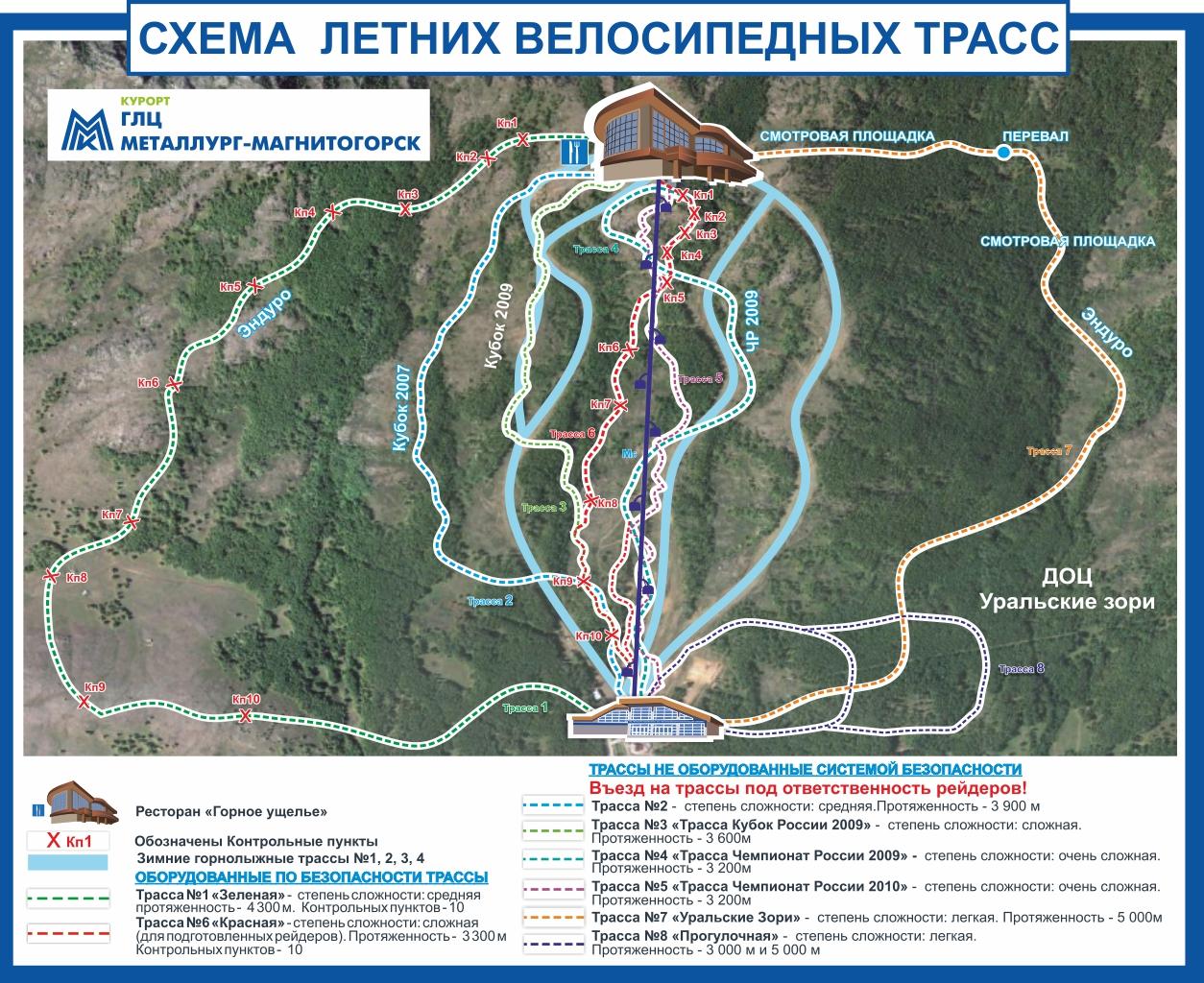 Схема летних велосипедных трасс на ГЛЦ Металлург-Магнитогорск