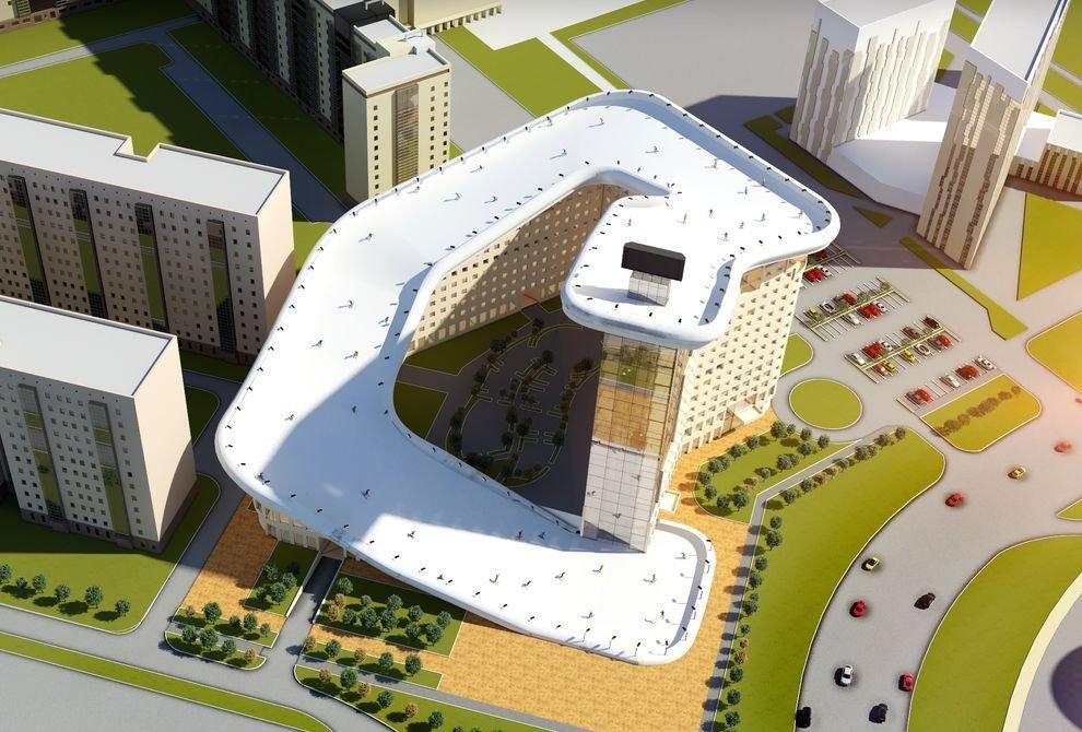 Проект жилого дома с горнолыжным спуском на крыше в Казахстане